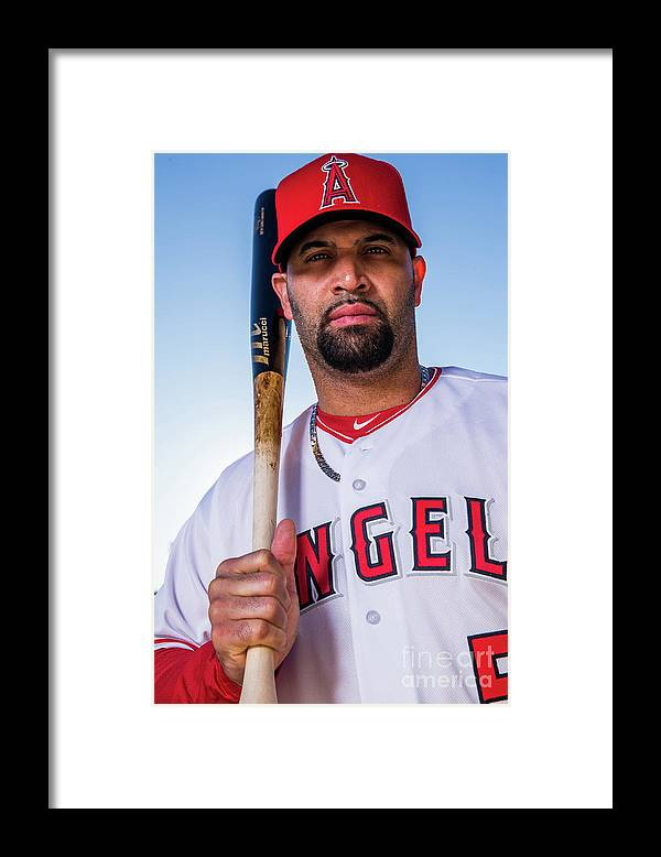 Media Day Framed Print featuring the photograph Albert Pujols by Rob Tringali