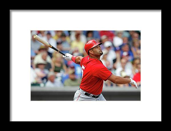 American League Baseball Framed Print featuring the photograph Albert Pujols by Sarah Crabill