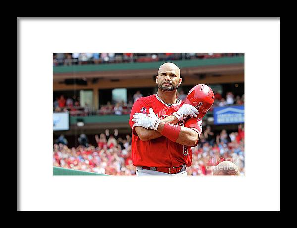 People Framed Print featuring the photograph Albert Pujols by Scott Kane