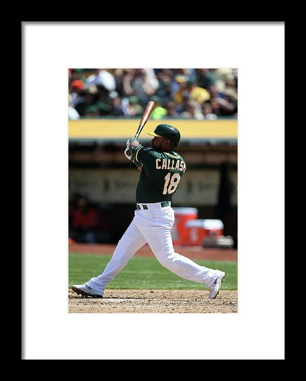 American League Baseball Framed Print featuring the photograph Alberto Callaspo by Brad Mangin