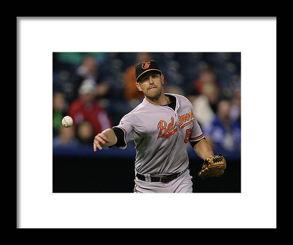 American League Baseball Framed Print featuring the photograph Alcides Escobar and Darren O'day by Ed Zurga