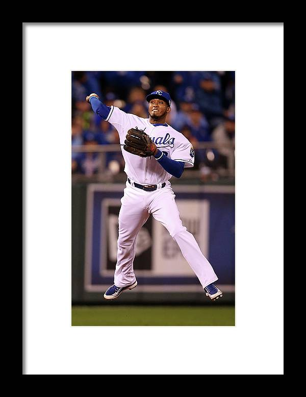 People Framed Print featuring the photograph Alcides Escobar by Doug Pensinger