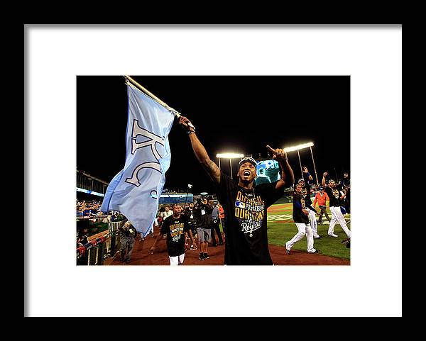 American League Baseball Framed Print featuring the photograph Alcides Escobar by Jamie Squire