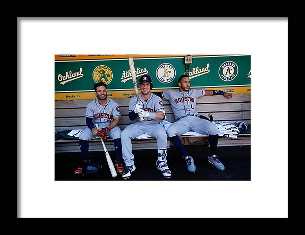 Alex Bregman Framed Print featuring the photograph Alex Bregman and Carlos Correa by Michael Zagaris