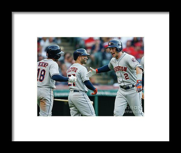 Alex Bregman Framed Print featuring the photograph Alex Bregman, Mike Clevinger, and Tony Kemp by Ron Schwane