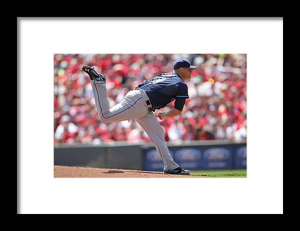 Great American Ball Park Framed Print featuring the photograph Alex Cobb by John Grieshop