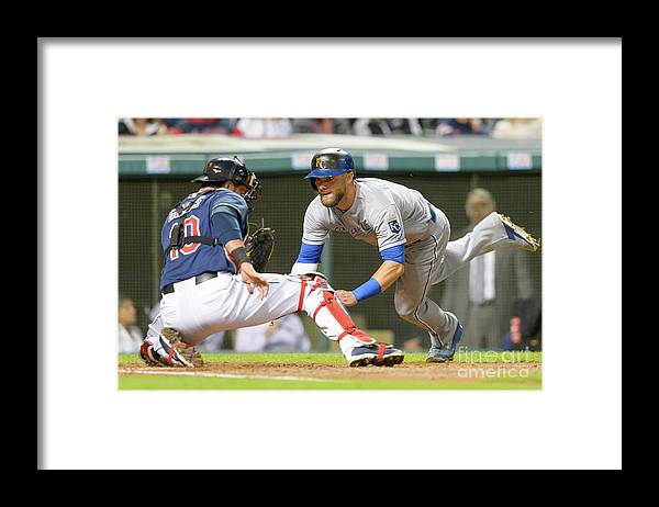 Baseball Catcher Framed Print featuring the photograph Alex Gordon and Yan Gomes by Jason Miller
