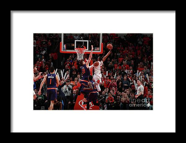 Nba Pro Basketball Framed Print featuring the photograph Alex Len and Dwyane Wade by Jeff Haynes
