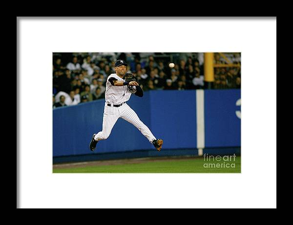 People Framed Print featuring the photograph Alex Rios and Derek Jeter by Jeff Zelevansky