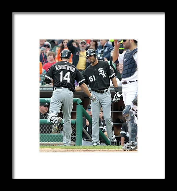 People Framed Print featuring the photograph Alex Rios and Paul Konerko by Leon Halip