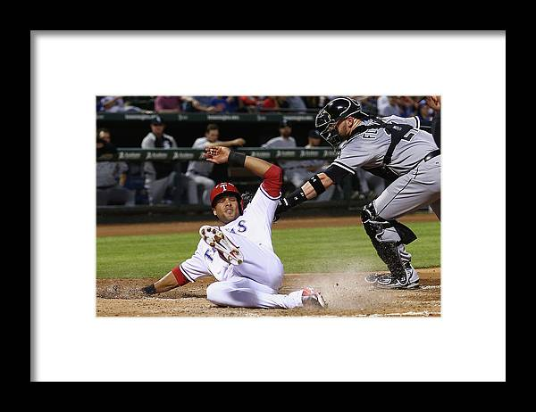 American League Baseball Framed Print featuring the photograph Alex Rios And Tyler Flowers by Tom Pennington