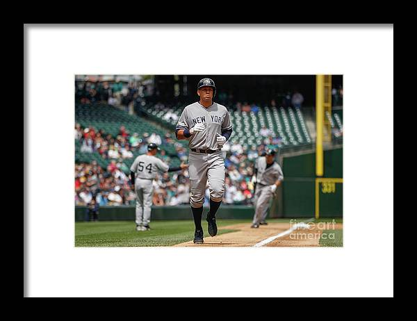 People Framed Print featuring the photograph Alex Rodriguez and Garrett Jones by Otto Greule Jr