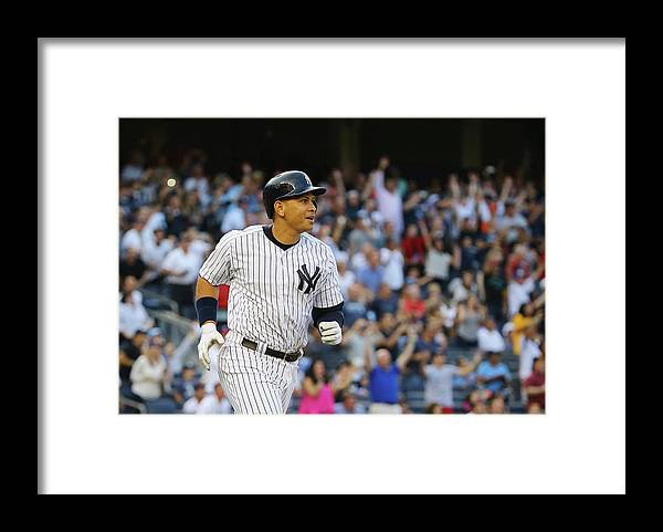 Three Quarter Length Framed Print featuring the photograph Alex Rodriguez and Justin Verlander by Al Bello