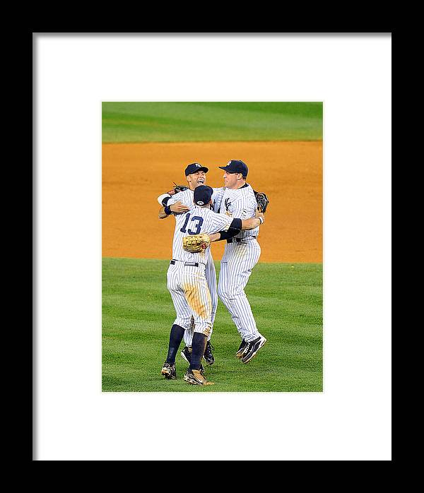 American League Baseball Framed Print featuring the photograph Alex Rodriguez, Mark Teixeira, And Derek Jeter by New York Daily News Archive