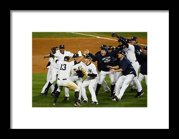 American League Baseball Framed Print featuring the photograph Alex Rodriguez, Mark Teixeira, And Mariano Rivera by Chris Mcgrath