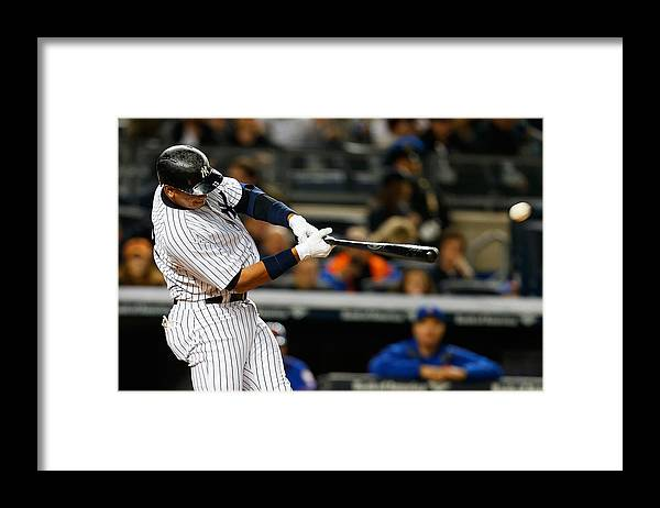 Three Quarter Length Framed Print featuring the photograph Alex Rodriguez by Mike Stobe