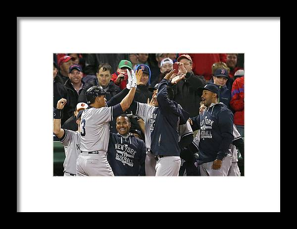 People Framed Print featuring the photograph Alex Rodriguez, Willie Mays, and Joe Girardi by Jim Rogash