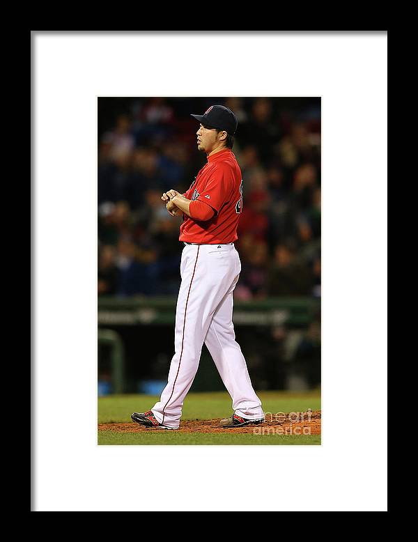 People Framed Print featuring the photograph Alex Rodriguez, Willie Mays, and Junichi Tazawa by Jim Rogash