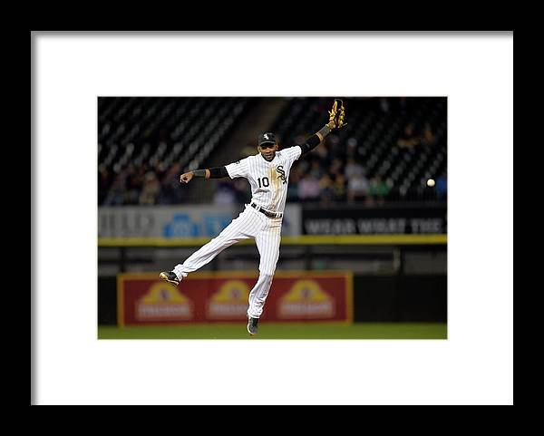 Double Play Framed Print featuring the photograph Alexei Ramirez, Adam Dunn, and Jason Kipnis by Brian Kersey