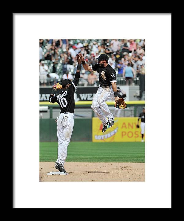 American League Baseball Framed Print featuring the photograph Alexei Ramirez and Adam Eaton by David Banks