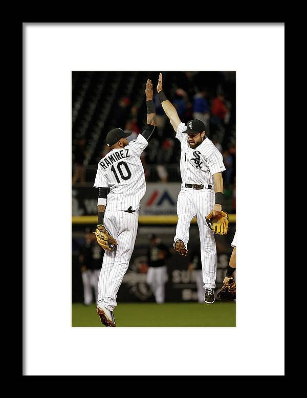 People Framed Print featuring the photograph Alexei Ramirez and Adam Eaton by Jon Durr