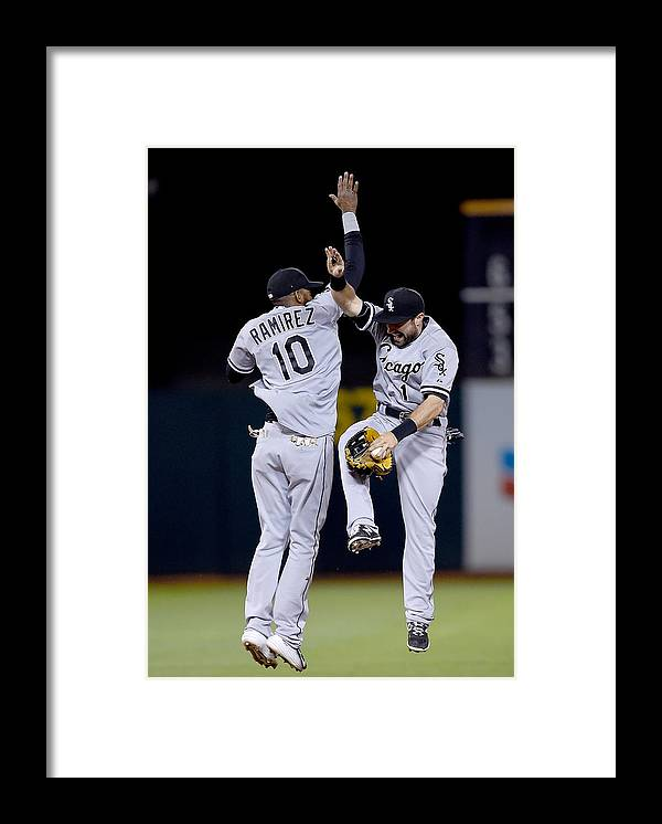 People Framed Print featuring the photograph Alexei Ramirez and Adam Eaton by Thearon W. Henderson