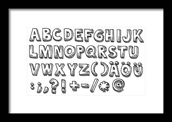 White Background Framed Print featuring the drawing Alphabet Capital Letters And Special Characters Drawing by FrankRamspott