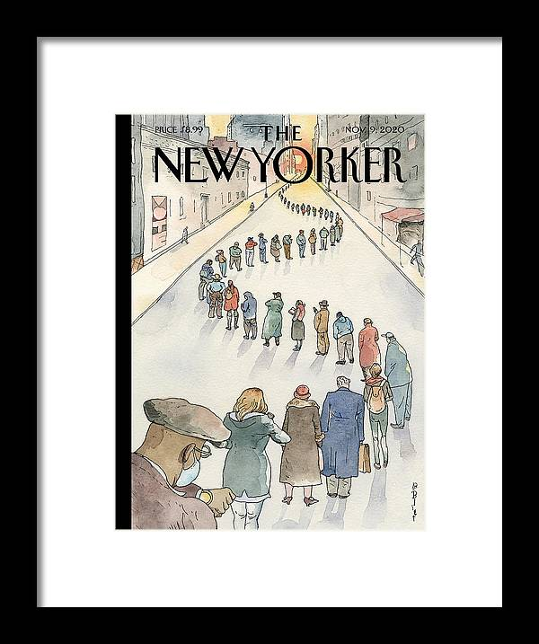Election Framed Print featuring the painting America in Line by Barry Blitt