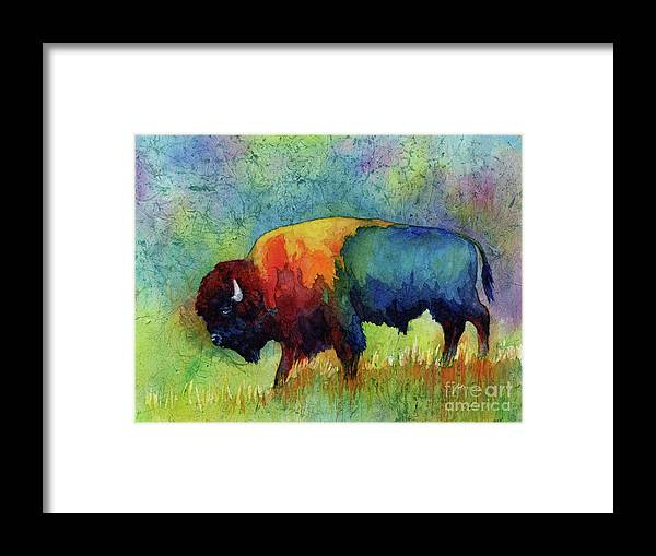 Bison Framed Print featuring the painting American Buffalo III by Hailey E Herrera
