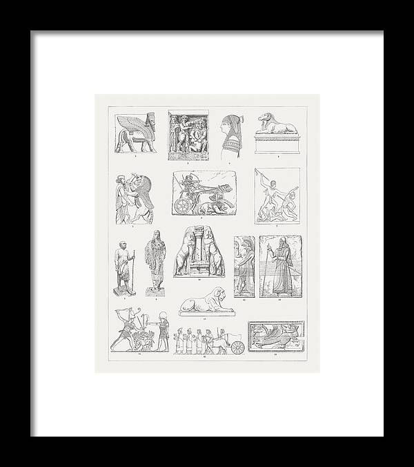Horse Framed Print featuring the drawing Ancient European And Middle East Sculptures, Wood Engravings, Published 1897 by Zu_09