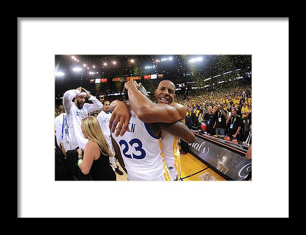 Playoffs Framed Print featuring the photograph Andre Iguodala and Draymond Green by Noah Graham