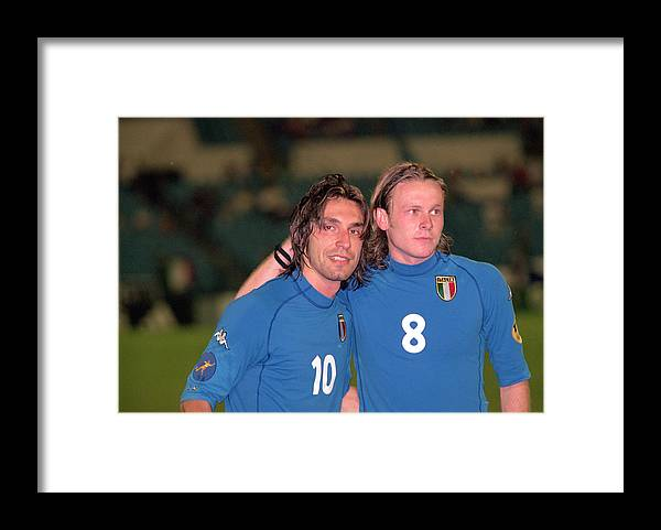 Celebration Framed Print featuring the photograph Andrea Pirlo, Roberto Baronio by Phil Cole