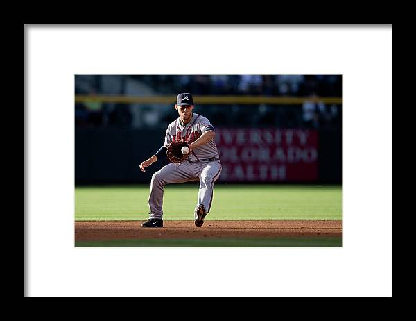 Ball Framed Print featuring the photograph Andrelton Simmons and Drew Stubbs by Justin Edmonds