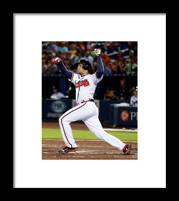 Atlanta Framed Print featuring the photograph Andrelton Simmons by Mike Zarrilli