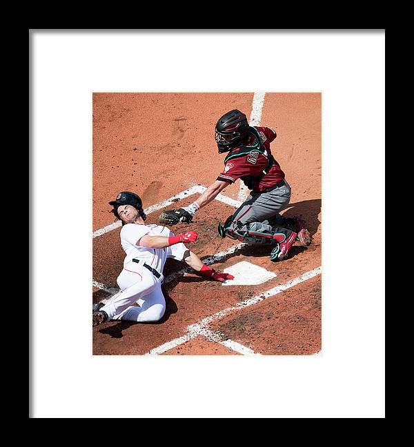 Second Inning Framed Print featuring the photograph Andrew Benintendi by Michael Ivins/boston Red Sox
