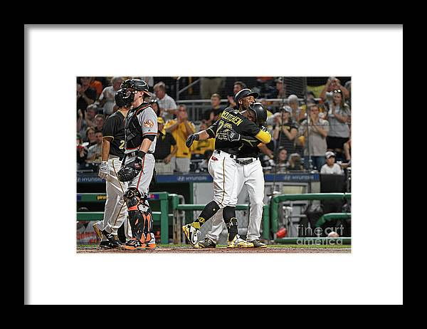 Second Inning Framed Print featuring the photograph Andrew Mccutchen and Starling Marte by Justin Berl