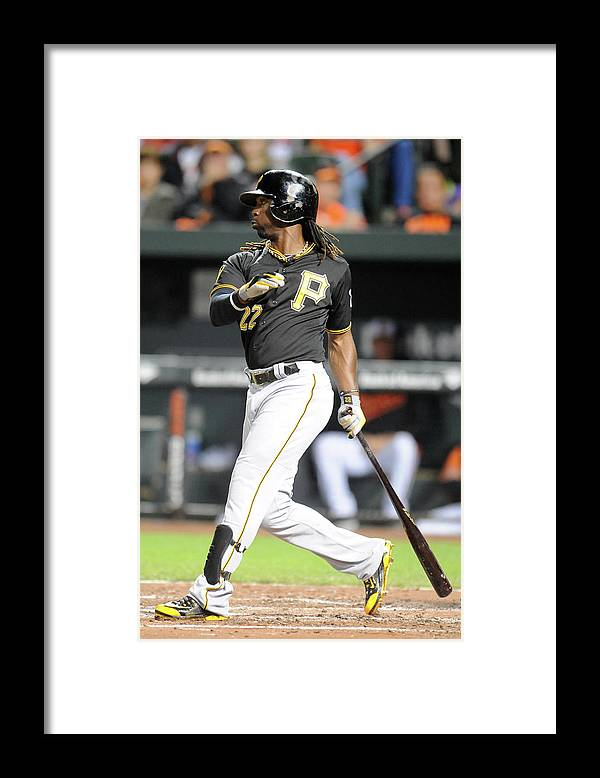 Game Two Framed Print featuring the photograph Andrew Mccutchen by Mitchell Layton