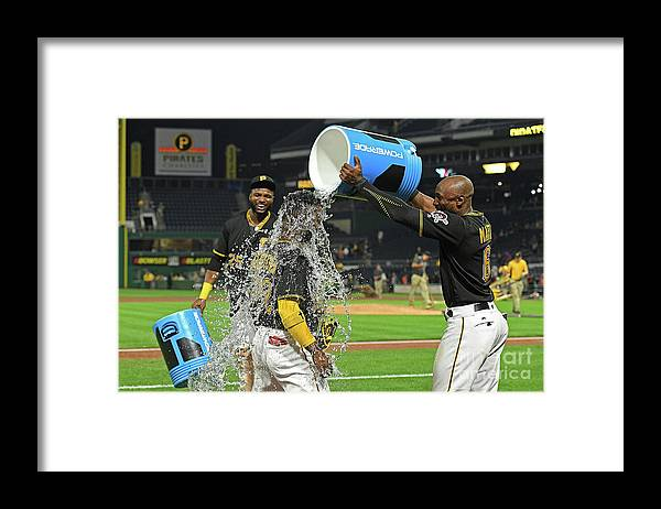 Three Quarter Length Framed Print featuring the photograph Andrew Mccutchen, Starling Marte, and Gregory Polanco by Justin Berl