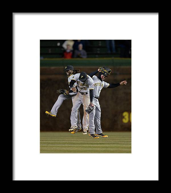 Celebration Framed Print featuring the photograph Andrew Mccutchen, Starling Marte, and Travis Snider by Brian Kersey