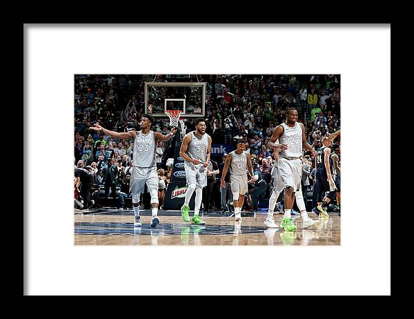 Nba Pro Basketball Framed Print featuring the photograph Andrew Wiggins and Jeff Teague by David Sherman