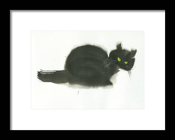 An Angry Cat With Green Eyes. This Is A Simple Contemporary Chinese Brush Painting On Rice Paper. Framed Print featuring the painting Angry Cat by Mui-Joo Wee