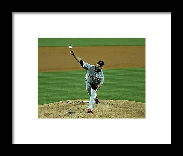 American League Baseball Framed Print featuring the photograph Anibal Sanchez by Stephen Dunn