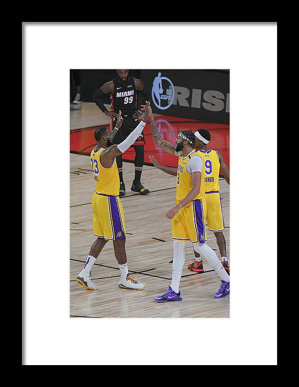 Playoffs Framed Print featuring the photograph Anthony Davis and Lebron James by Fernando Medina