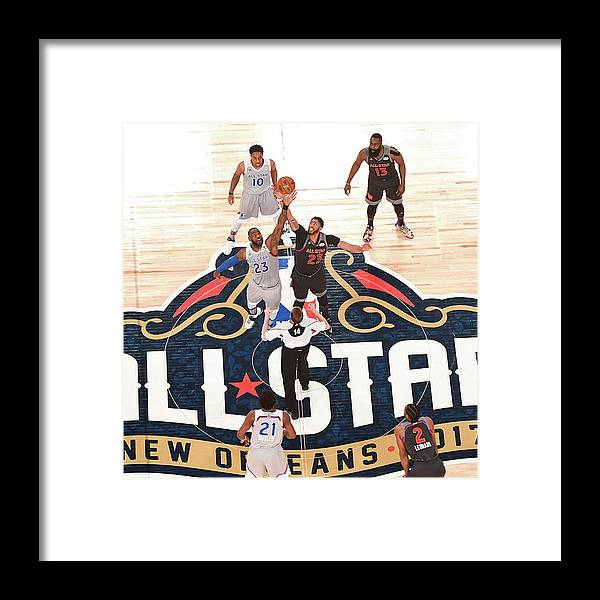 Event Framed Print featuring the photograph Anthony Davis and Lebron James by Garrett Ellwood