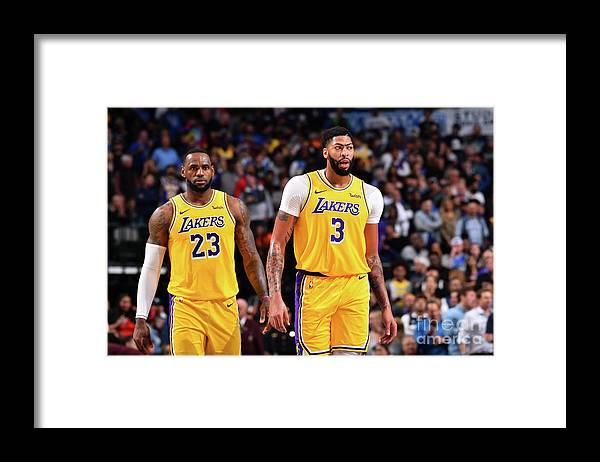 Nba Pro Basketball Framed Print featuring the photograph Anthony Davis and Lebron James by Jesse D. Garrabrant