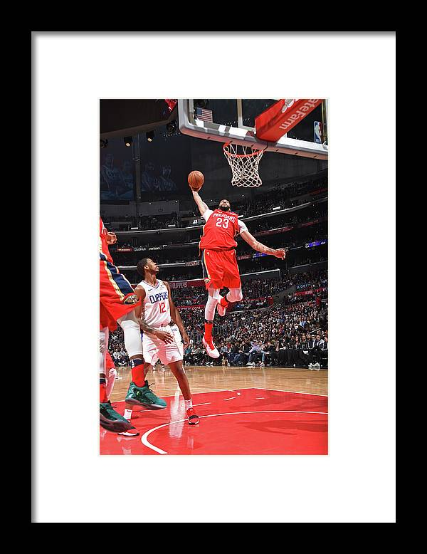 California Framed Print featuring the photograph Anthony Davis and Rajon Rondo by Andrew D. Bernstein