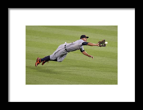 People Framed Print featuring the photograph Anthony Gose and Adam Jones by Mitchell Layton