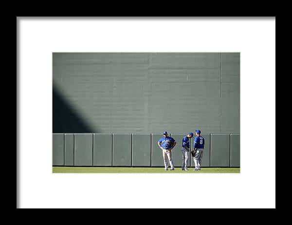 American League Baseball Framed Print featuring the photograph Anthony Gose and Melky Cabrera by Jonathan Ernst