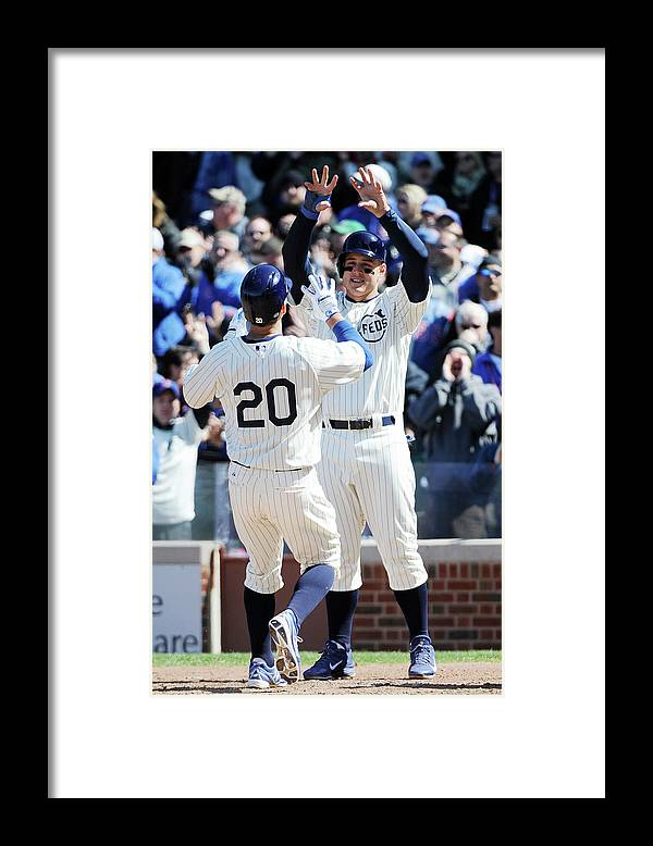National League Baseball Framed Print featuring the photograph Anthony Rizzo and Justin Ruggiano by David Banks