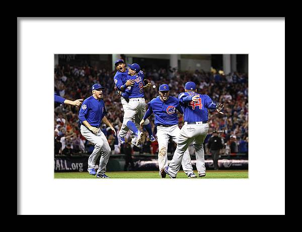 American League Baseball Framed Print featuring the photograph Anthony Rizzo and Kris Bryant by Ezra Shaw